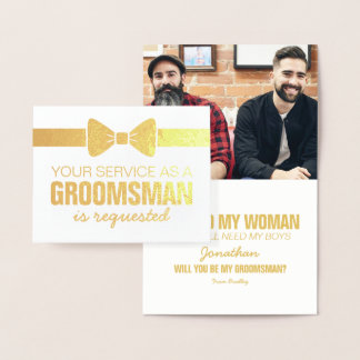 Personalized Groomsmen Photo   Groomsman Requested Foil Card