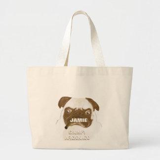 Personalized Grumpy AFICIONADO Puggy Cigar Jumbo Tote Bag