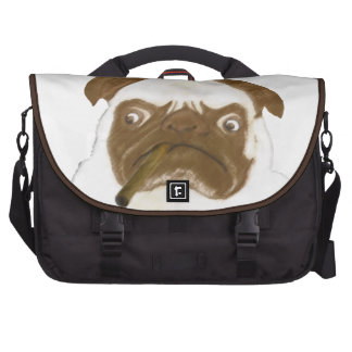 Personalized Grumpy AFICIONADO Puggy Cigar Laptop Commuter Bag