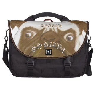 Personalized Grumpy AFICIONADO Puggy Cigar Laptop Computer Bag