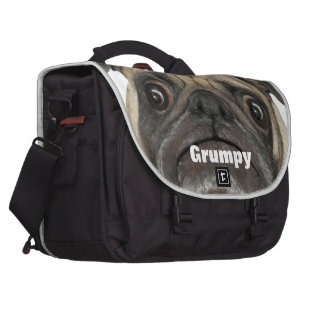 Personalized Grumpy Puggy Laptop Messenger Bag
