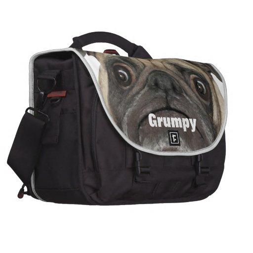 Personalized Grumpy Puggy Laptop Messenger Bag
