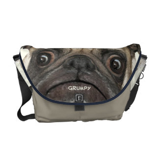 Personalized Grumpy Puggy Courier Bags