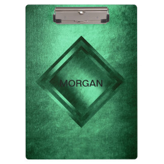 Personalized Grungy Gold Green Geometric Clipboard
