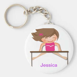 Personalized GYMNASTICS Girl Bars Gifts Basic Round Button Key Ring