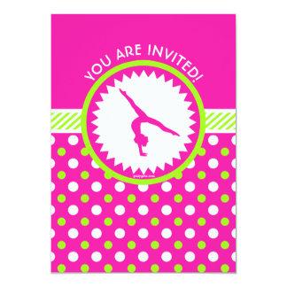 Personalized Gymnastics Pink Green Polka-Dots 13 Cm X 18 Cm Invitation Card