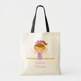 Personalized gymnastics reusable canvas tote bag