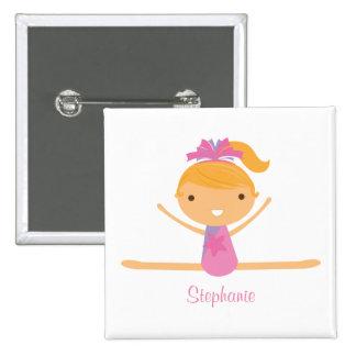 Personalized gymnastics split girl s kids button