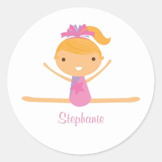 Personalized gymnastics split girl s kids stickers