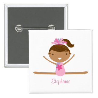 Personalized gymnastics split girl's kids button