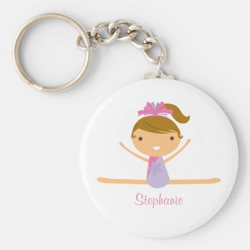Personalized gymnastics split girls kids keychain