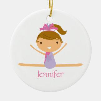 Personalized gymnastics split girl's kids ornament