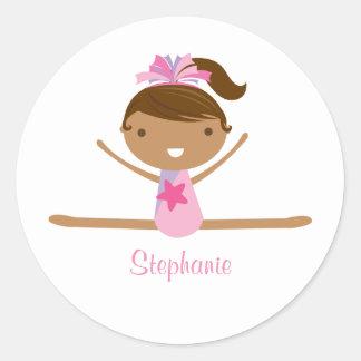 Personalized gymnastics split girl's kids stickers