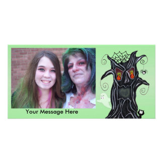 Personalized Halloween Photo Scary Black Tree Photo Card