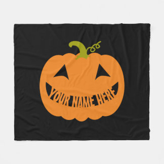 Personalized Halloween Pumpkin Fleece Blanket