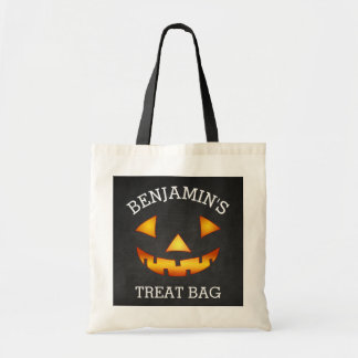 Personalized Halloween Pumpkin Treat Budget Tote Bag