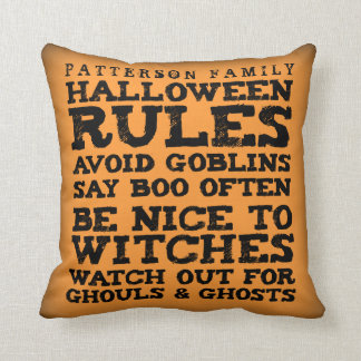 Personalized Halloween Rules Decor Pillow