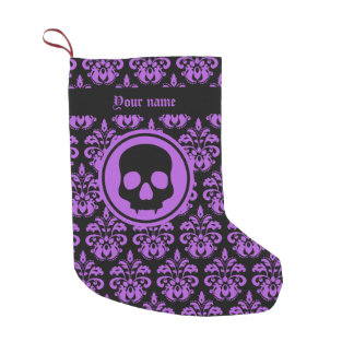 Personalized Halloween skull on damask custom Small Christmas Stocking