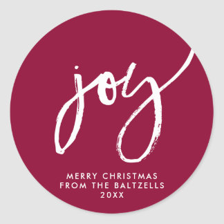 Personalized Hand-lettered Joy Christmas Sticker