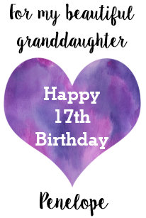 Personalized Happy 17th Birthday Granddaughter Card