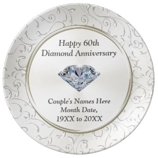 Personalized Happy 60th Diamond Anniversary Plate Porcelain Plates