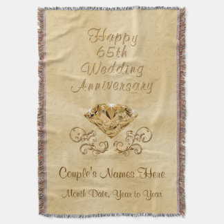 Personalized Happy 65th Anniversary Gifts Ideas Throw Blanket