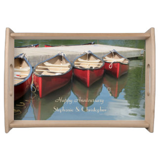 Personalized Happy Anniversary Red Canoes on Lake Serving Tray
