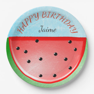 Personalized Happy Birthday Watermelon Plates