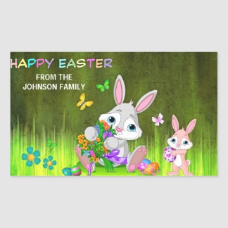 Personalized HAPPY EASTER Bunny Colored Eggs Rectangular Sticker