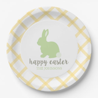 Personalized Happy Easter Bunny Paper Plate Yellow