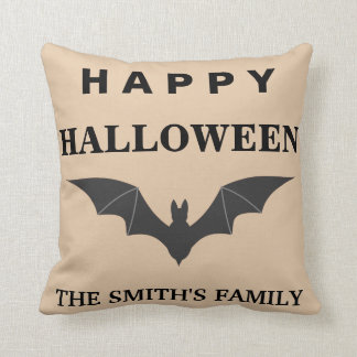 Personalized Happy Halloween Bat Throw Pillow