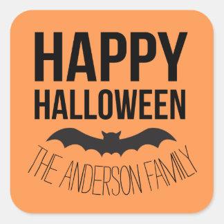 Personalized Happy Halloween Cartoon Bat Square Sticker