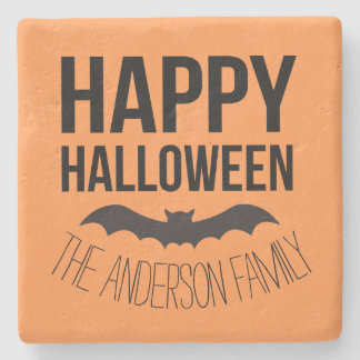 Personalized Happy Halloween Cartoon Bat Stone Beverage Coaster