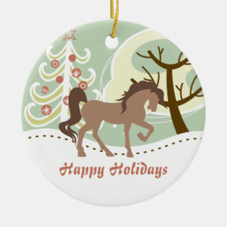 Personalized Happy Holidays Brown Horse Winter Christmas Ornament