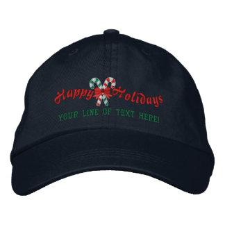 Personalized Happy Holidays Candy Canes Embroidered Hats
