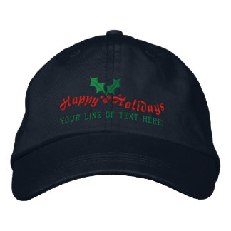 Personalized Happy Holidays Embroidered Baseball Cap