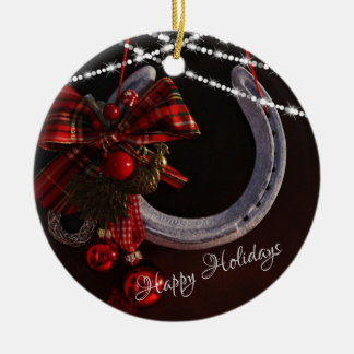 Personalized Happy Holidays Horseshoe Christmas Christmas Ornament