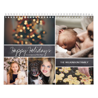 Personalized Happy Holidays, New Year, Photo Wall Calendars