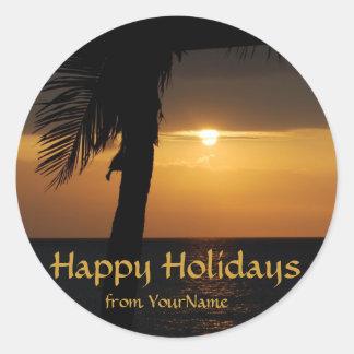 Personalized Happy Holidays seals Round Sticker