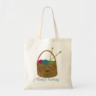 Personalized Happy Knitter's Basket Bag