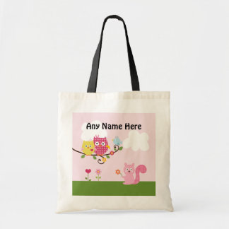 Personalized Happy Owls on Tree Tote Bag