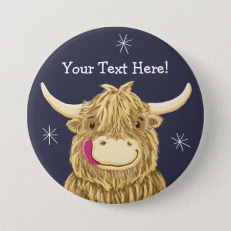 Personalized Happy Scottish Highland Cow 7.5 Cm Round Badge