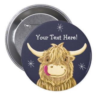 Personalized Happy Scottish Highland Cow 7.5 Cm Round Badge