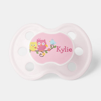 """Personalized """"Happy Tree Owls"""" Baby Pacifier"""