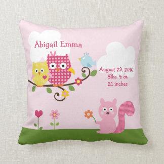 Personalized Happy Tree Owls Pillow Keepsake Cushion