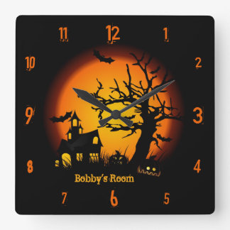 Personalized Haunted House Halloween Wall Clock