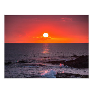Personalized Hawaii Beach Ocean Tropical Sunset Photographic Print