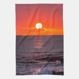Personalized Hawaii Beach Ocean Tropical Sunset Tea Towel