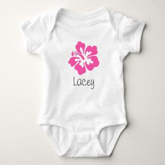 Personalized Hawaiian Flower Hibiscus Pink Baby Bodysuit