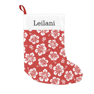 Personalized Hawaiian Hibiscus - Choose Your Color Small Christmas Stocking